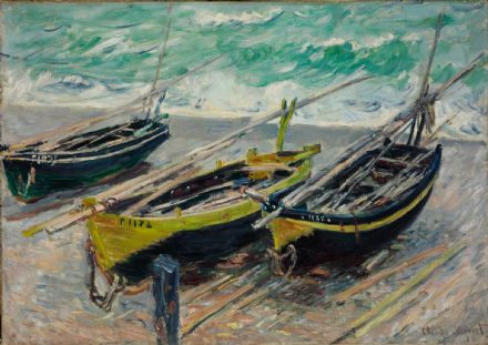 Monet, Claude: Three Fishing Boats. Fine Art Print/Poster. Sizes: A4/A3/A2/A1 (004076)